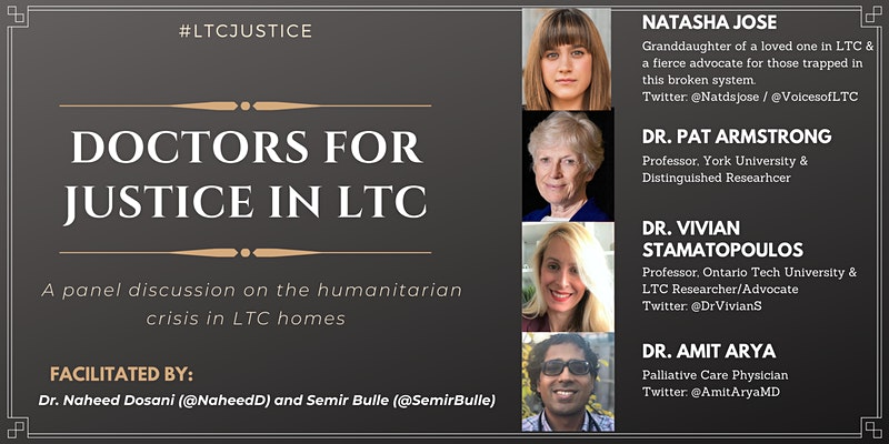 Event poster titled 'Doctors for Justice in LTC,' listing four panelists taking part.