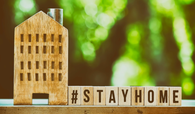 Block letters spell #stayhome