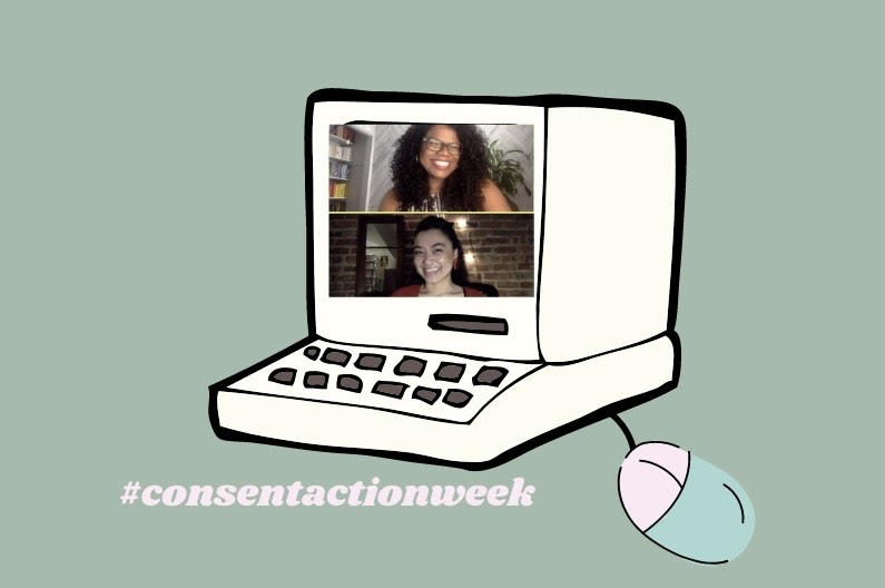 a cartoon image of a computer with screenshots of two women from a live Zoom call pasted on top of each other on the computer screen