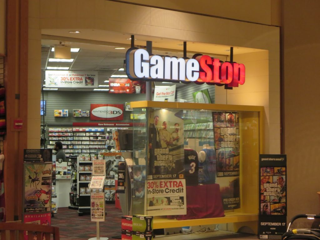 the outside of a GameStop store in a mall