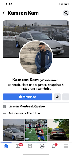 a screenshot of a Facebook profile of an individual named Kamron kam