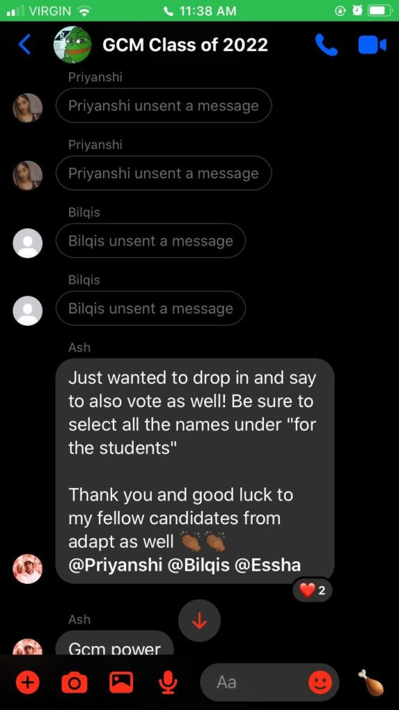 a screenshot of a course group chat where two individuals who broke election bylaws by promoting themselves unsent their messages and then took a screenshot of the opposing team's candidate who copied them