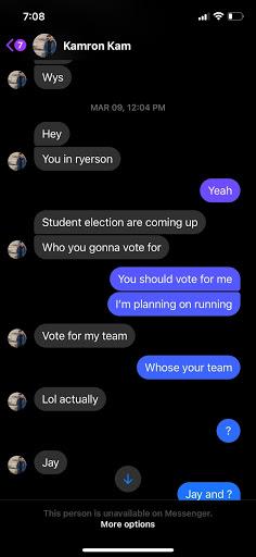 screenshots of a facebook message of someone messaging Guardado
