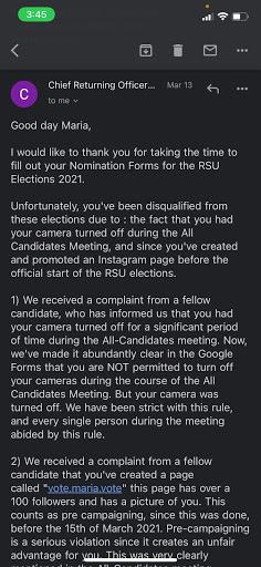 a screenshot to Guardado informing her she has been disqualified