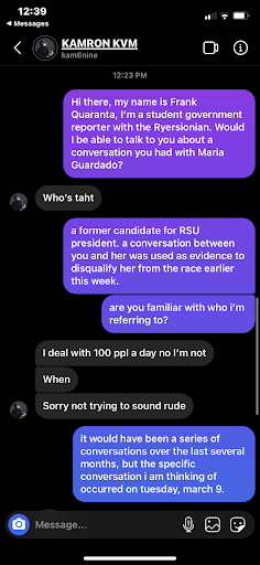 a facebook messaging exchange between a ryersonian reporter and the individual who messaged guardado