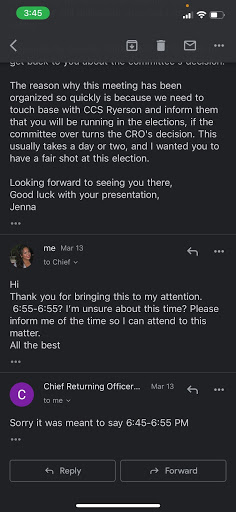 screenshots of an email of Guardado scheduling an appeal