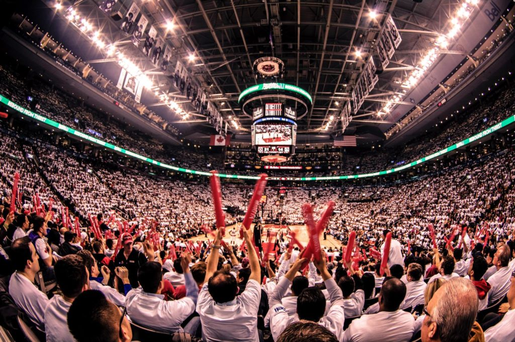 A crowd cheers on the Toronto Raptors at Scotiabank Arena
