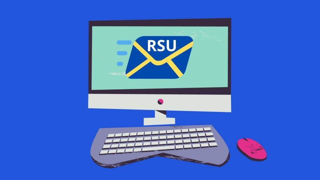 a cartoon computer with a mail emoji on it that says RSU with a blue background