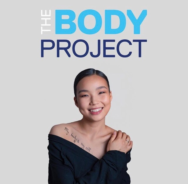 """the words """"the body project"""" written above a smiling woman's head"""