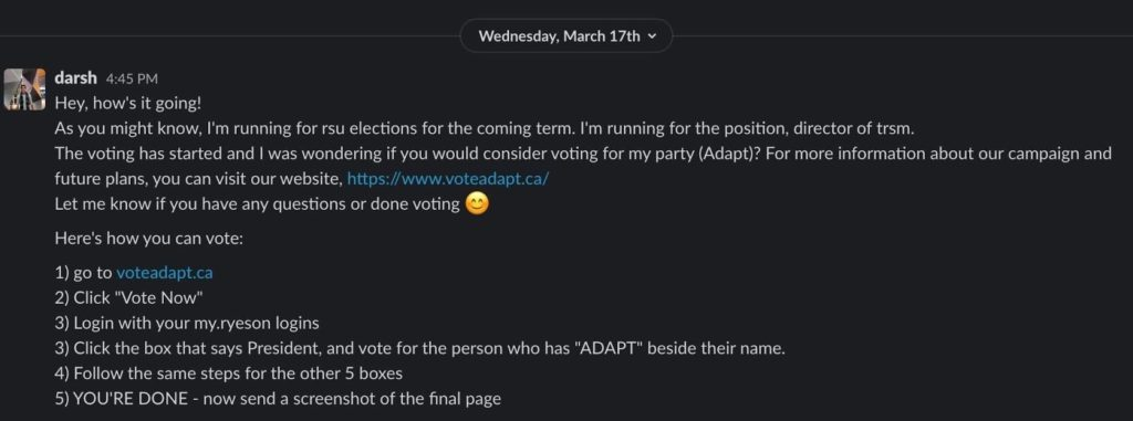 a screenshot of a Slack message from an Adapt team member telling someone to vote