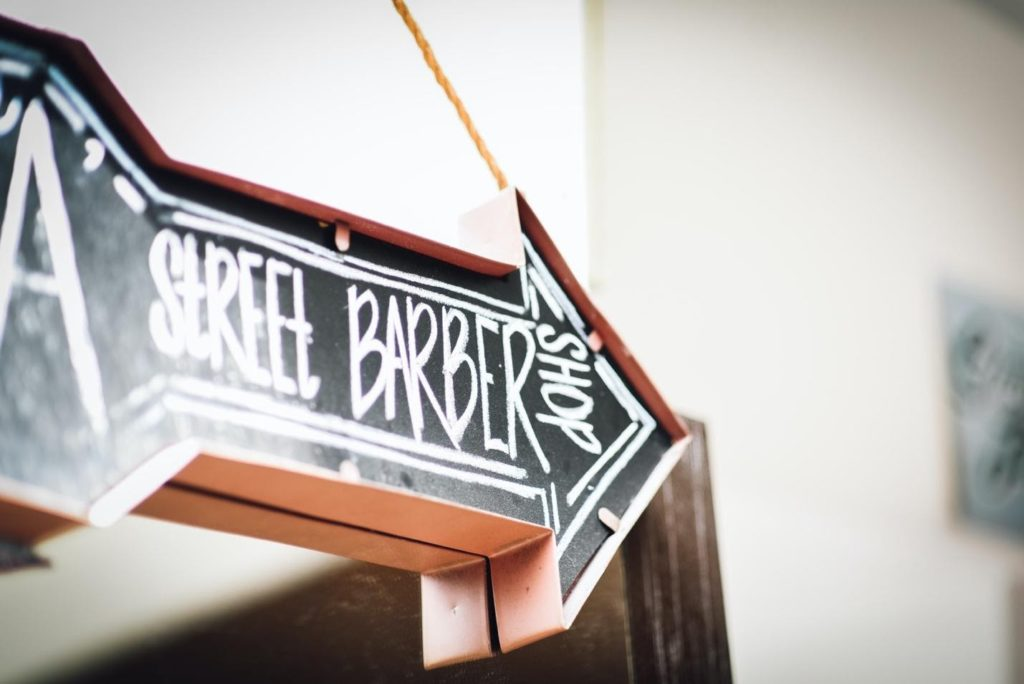a barber shop's sign