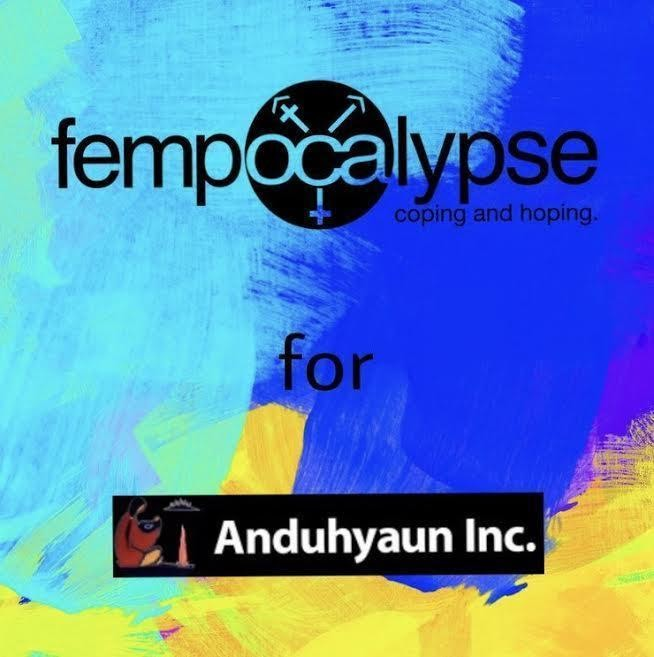a multicoloured graphic that says the word fempocalypse in black