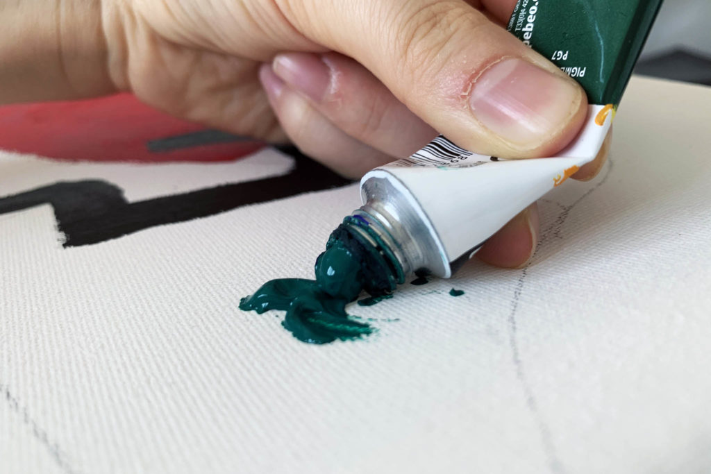 green paint on page