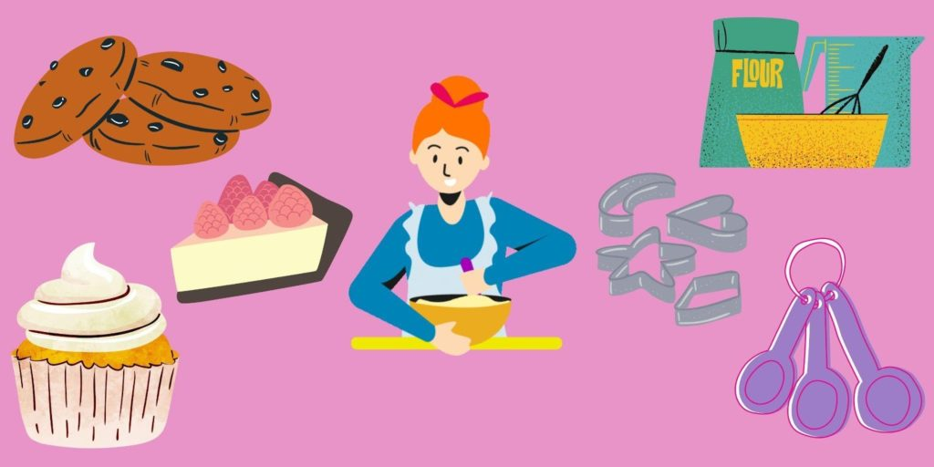 a cartoon image of a woman baking with various cakes and pies and baking supplies around her