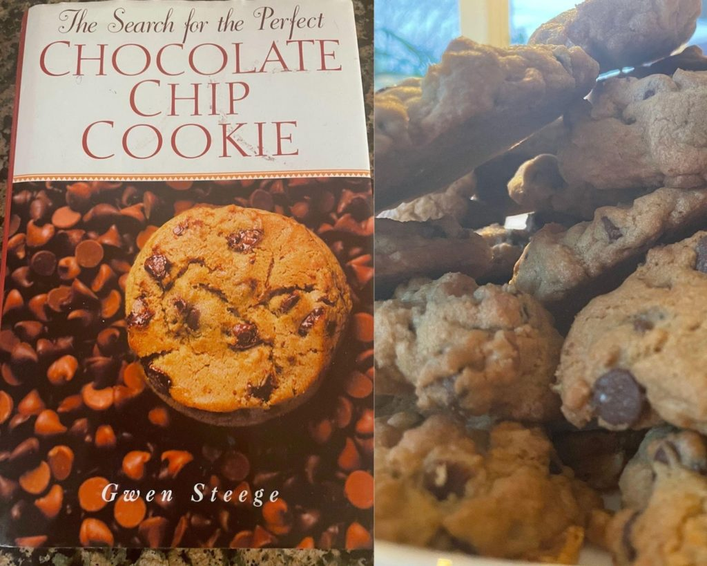 a side by side image of a chocolate chip cookie box and cookies