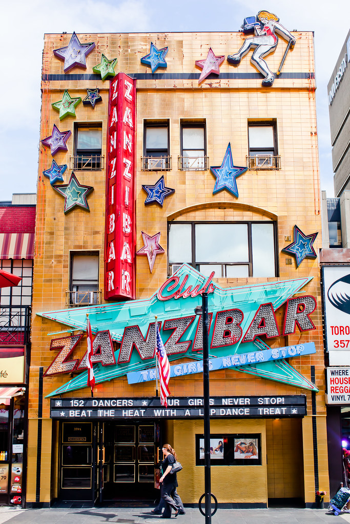 the front of a building called Zanzibar on Yonge Street in downtown Toronto